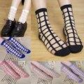 6 pares atractivo de las mujeres de cristal transparente de cristal de color rosa calcetines fresco ultrafino mallas summer novedad calcetines de rejilla fina calcetines cortos femenino