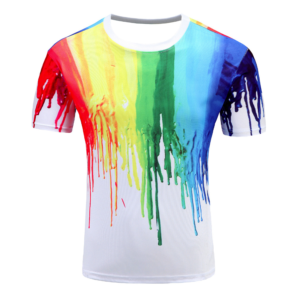 2017 novelty 3d t shirt men multicolor paint printed hip for Vintage screen print t shirts