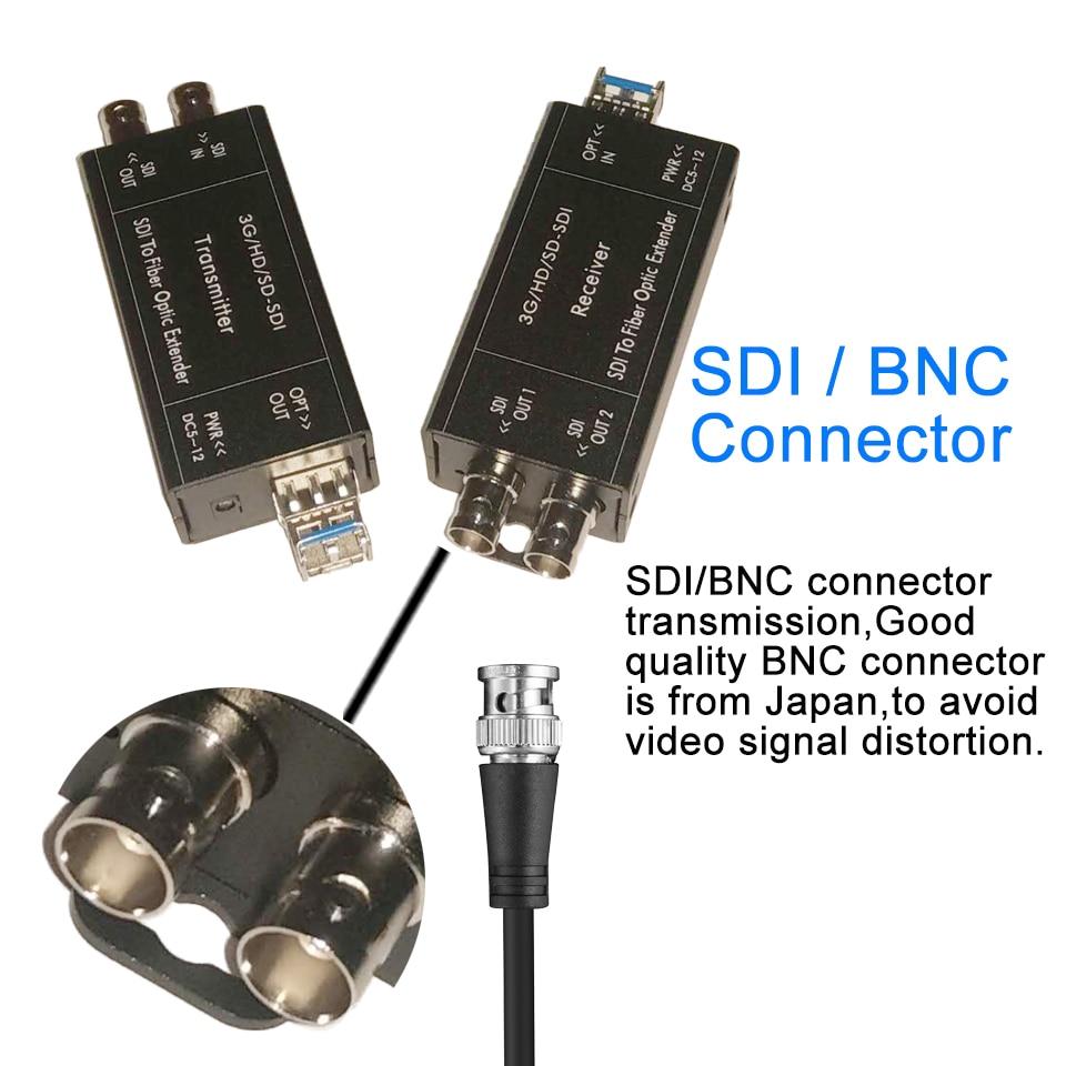 Mini 1080i HD SDI Fiber Converter with SFP simplex LC Singlemode SDI BNC Coaxial signal Optical Media Converters over Fiber 20Km