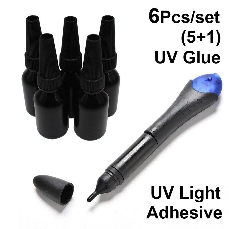 6Pcs/set Liquid Five 5 Seconds Fix Glue Strong 5pcs UV Refill Light Super Glue Glass Metal Fabric Jewelry LED Touch Screen Kit