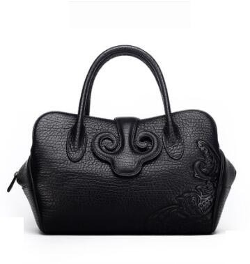 2018 new leather handbags bag handbags Chinese wind retro bag shoulder bag leather hand bag
