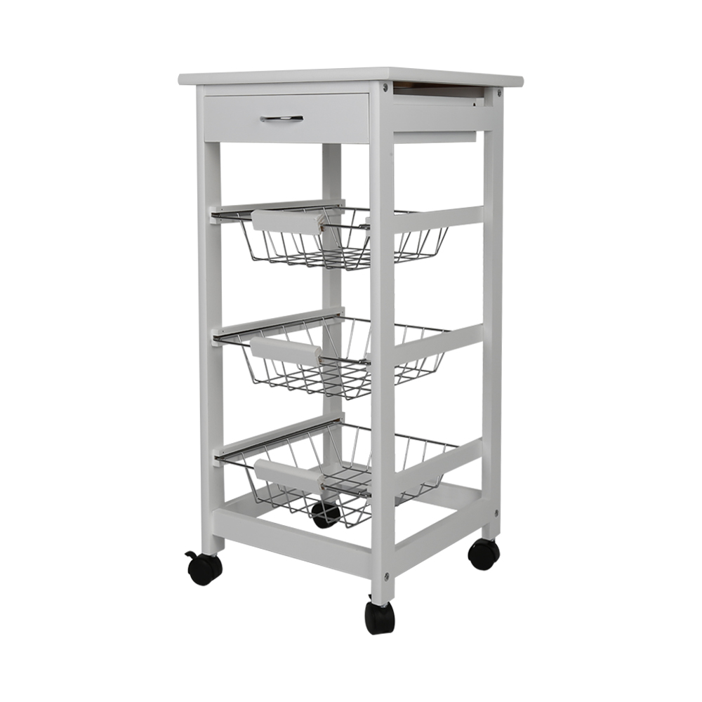 New Kitchen Trolley Cart Three-layer Dining Shelf Rack With Universal Wheel Basket  Storage Drawers FR Shipping HWC
