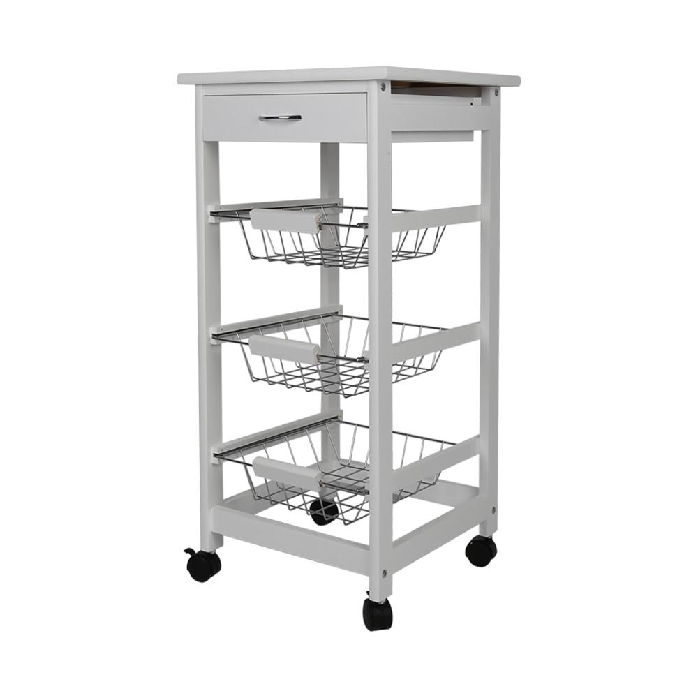 New Kitchen Trolley Cart Three-layer Dining Shelf Rack with Universal Wheel Basket Storage Drawers FR Shipping HWC