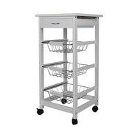 New Kitchen Trolley Cart Three layer Dining Shelf Rack with Universal Wheel Basket Storage Drawers FR Shipping HWC