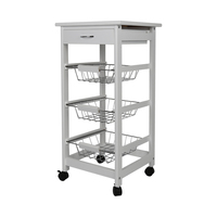 New Kitchen Trolley Cart Three layer Dining Shelf Rack with Universal Wheel Basket Storage Drawers FR Shipping HWC