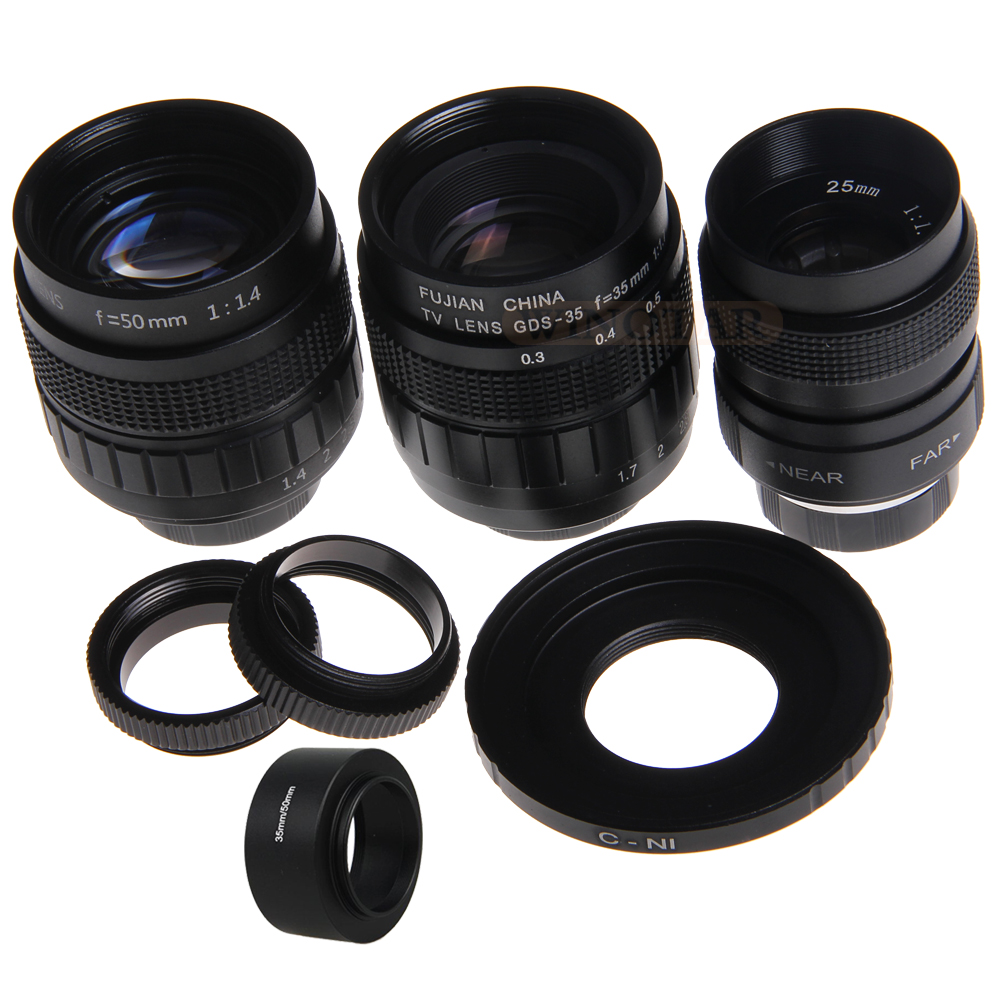 FUJIAN 3in1 CCTV 25mm f1 4 Lens 35mm f1 7 TV Lens 50mm f1 4 TV