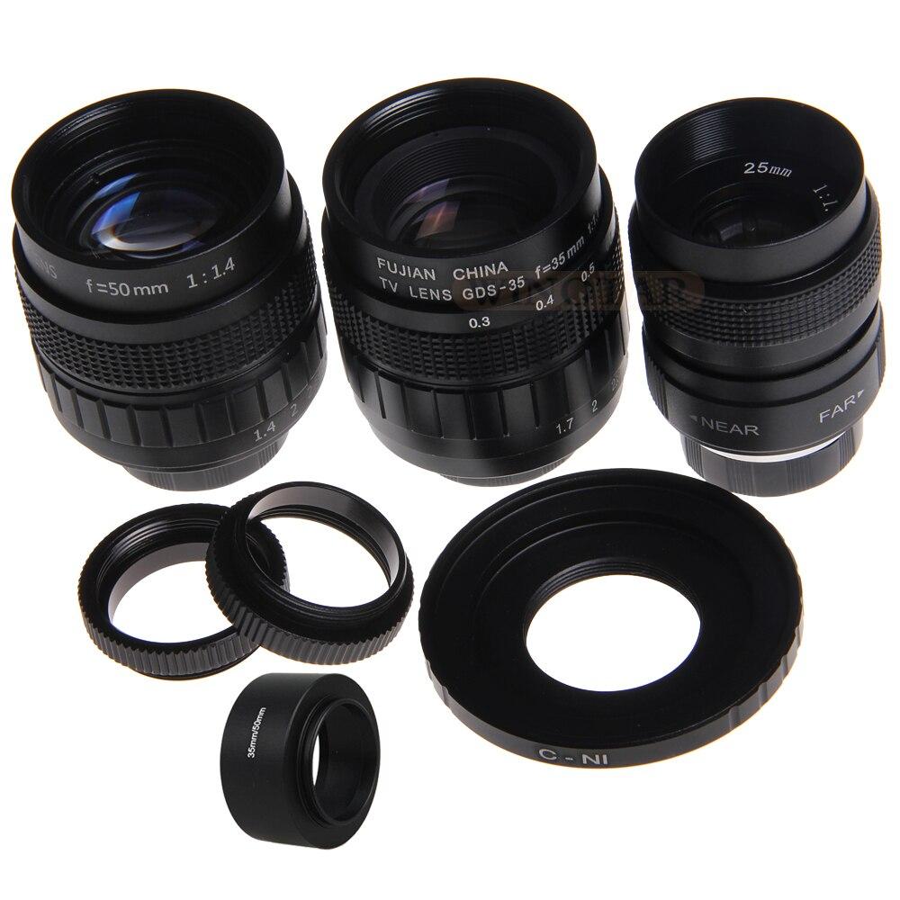 FUJIAN 3in1 CCTV 25mm f1.4 Lentille + 35mm f1.7 TV Lentille + 50mm f1.4 TV Monture anneau Kit pour Nikon 1 J5 J4 J3 J2 J1 V3 V2 V1 S1 S2