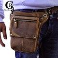Couro! muito Legal Coxa Drop Leg Bags bolsa do couro Genuíno do Sexo Masculino Caixa Mensageiro Couro de Cavalo Louco dos homens Bloco de Fanny Saco Da Cintura