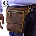 Cowhide! Very Cool Male Thigh Drop Leg Bags Genuine leather Fanny Pack Men's Crazy Horse Leather Messenger Cashier Waist Bag