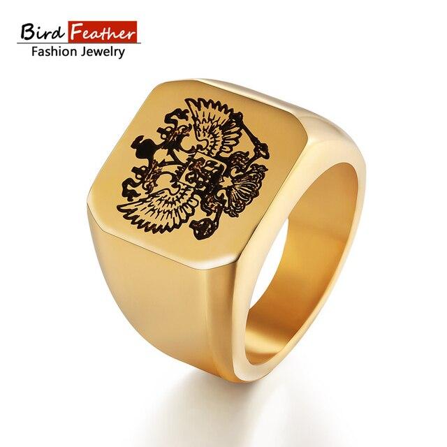3f0d05e9cd9 Pena de pássaro de Aço Inoxidável Homens Anéis Russa emblema Anéis para As  Mulheres Moda Punk