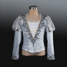 silver Man Fashion ballet boy dance costume professional male ballet flannelet top shirt,men's ballet top ballet jacket
