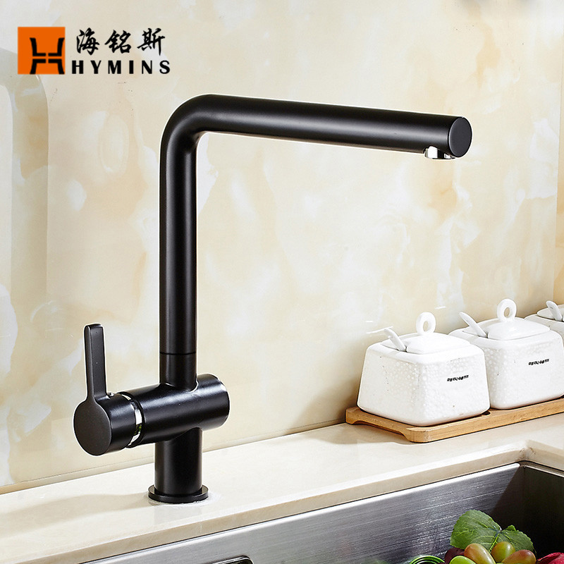 black mix faucet in the kitchen can rotate sink basins of hot and cold water tap