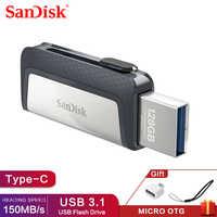 SanDisk 128GB SDDDC2 extrema de alta velocidad tipo-C USB3.1 Dual OTG unidad Flash USB 64GB Pen Drives 16GB 150 M/S PenDrives 32GB