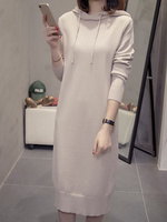 2018 Large size autumn winter dress female fat mm fashion age reduction sweater jerky fat sister waist thick cover belly dress