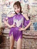 Women Sexy Slim Purple Tassel Rhinestone Bodysuit Costumes Female Singer Dj Stage Wear Performance Fashion Prom Leotard