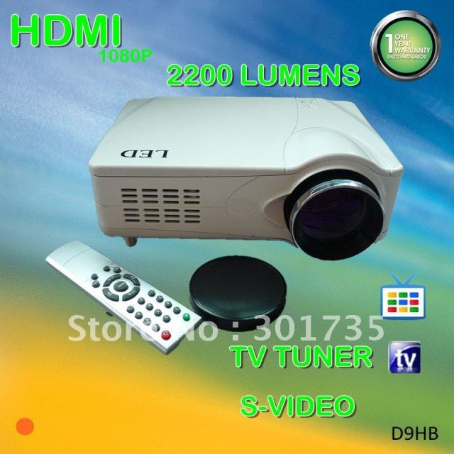Sales promotion!! led projector  with hdmi and tv tuner, SCART/AV/VGA/S-VIDEO/YPBPR, 2200 lumens (D9HB)