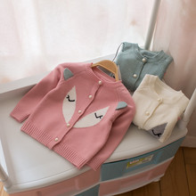 Childrens Fall Autumn Clothing Kintted Kids Girls Cartoon Fox Cardigan Cotton Fashion Baby Sweater with pearls TP008