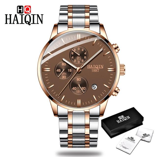 fd3708f44e59 HAIQIN Men s watches Fashion Mens watches top brand luxury Sport military  Gold quartz wrist watch men clock relogio masculino