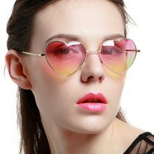 20 colorsMetal Frame Heart Shaped Sunglasses Women Clear Party Cheap Sun Glasses For Pink Yellow UV400