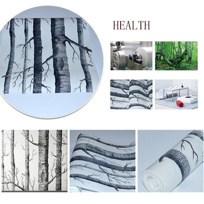 Birch Tree Non-woven 3D Woods Wallpaper Roll Modern Designer Wallcovering Simple Black And White For Living Room WP16017 wood wall wallpaper birch tree pattern non woven woods wallpaper roll modern designer wallcovering simple papel de parede 3d