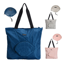 Korea Fashion Folding Women Handbag Tote Ladies Casual Solid Color Memory Fabric Shell Shape Shoulder Bag Beach Bolsa Feminina