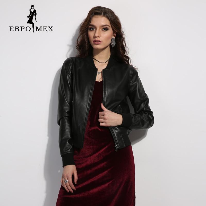 Styles Femmes Col Veste Classique Cuir En De Baseball Vêtements Black Femelle Court Mode Mandarin vqd07d