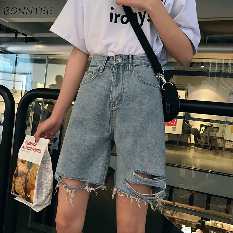 Shorts Women Holes Retro Trendy Elegant All-match High-quality Korean Style Loose Leisure Daily Womens Female Lovely Simple 2019