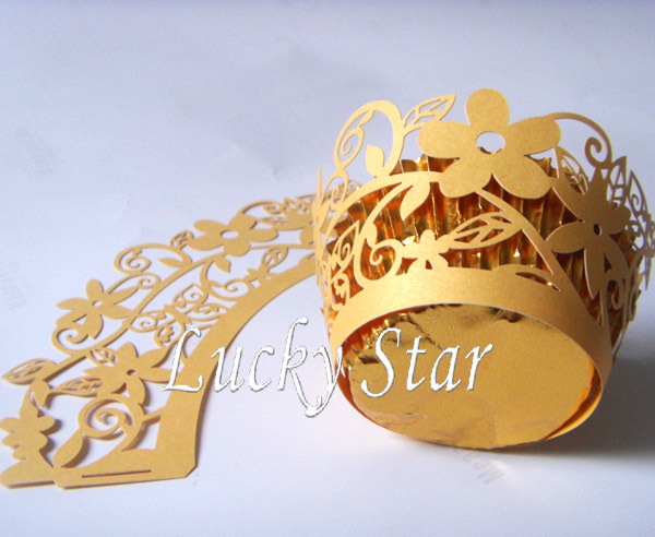 Sample order Free Shipping 12 pcslot Gold Garden Flower laser cut