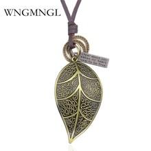 WNGMNGL 2018 Female Pendant Necklace New Unisex Vintage Antique Bronze Leaf Leather Rope Dangle Choker Fashion Jewelry