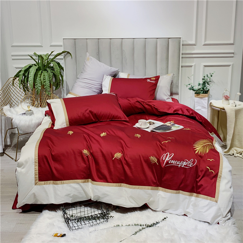 Luxury Egypt Cotton Golden Leaf Bedding Set Embroidery Duvet Cover Sets Bed Sheet Pillowcases Queen King Size 4Pcs bedlinenLuxury Egypt Cotton Golden Leaf Bedding Set Embroidery Duvet Cover Sets Bed Sheet Pillowcases Queen King Size 4Pcs bedlinen