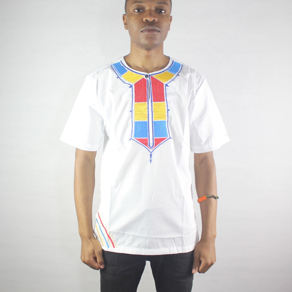 Africa White Rainbow Embroidery Men`s Ethnic Tops Henley Collar Male`s Dashiki Shirts for Summer