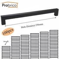 Probrico 100 PCS 15mm 15mm Black Square Bar Handle Stainless Steel CC 256mm Cabinet Knob Furniture