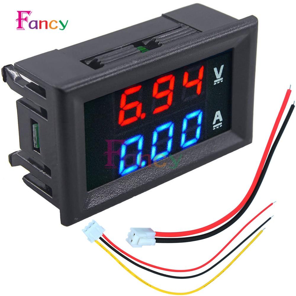 Mini Digital Voltmeter Ammeter DC 100V 10A Panel Amp Volt Voltage Current Meter Tester 0.28 Blue + Red Dual LED Display