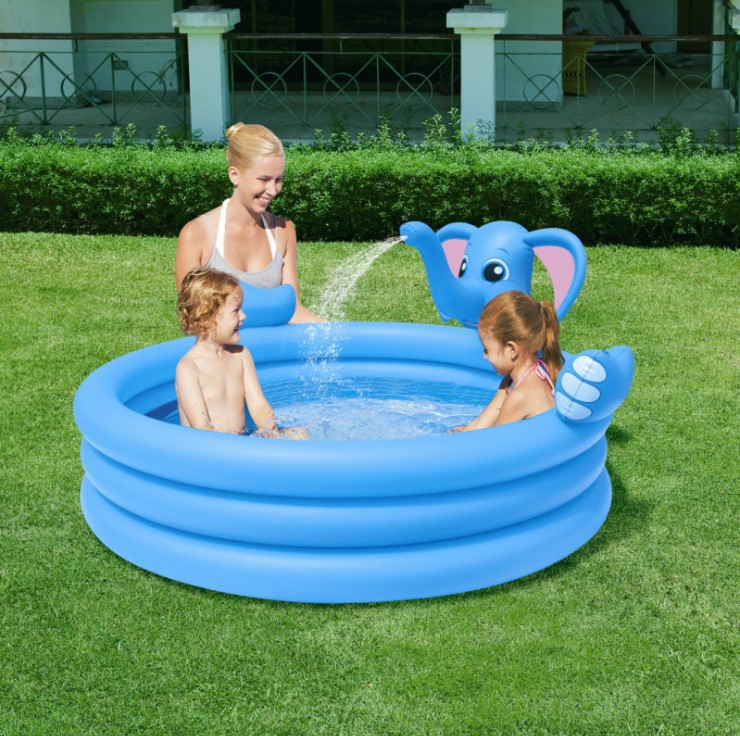 VILEAD Diameter 152CM Round Elephant Three Ring Fountain Inflatable Pool Baby Bath Swimming Pool Family Pool Large Capacity environmentally friendly pvc inflatable shell water floating row of a variety of swimming pearl shell swimming ring