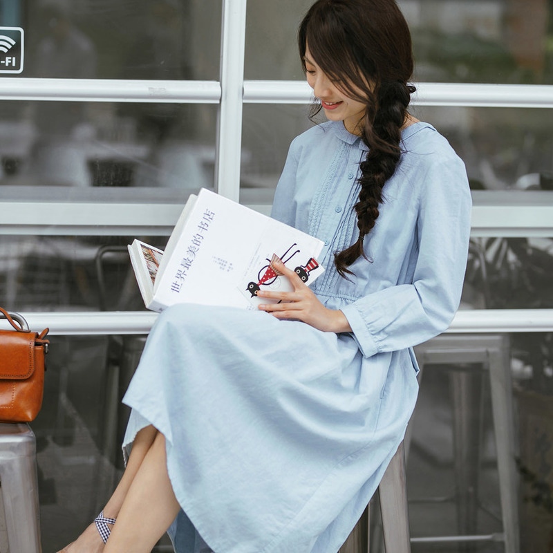 INMAN 2018 New Products Women Spring Clothes Round Neck Dress
