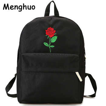 Menghuo Men Heart Canvas Backpack Women School Bag Backpack Rose Embroidery Backpacks for Teenagers Women's Travel Bags Mochilas - DISCOUNT ITEM  50% OFF All Category