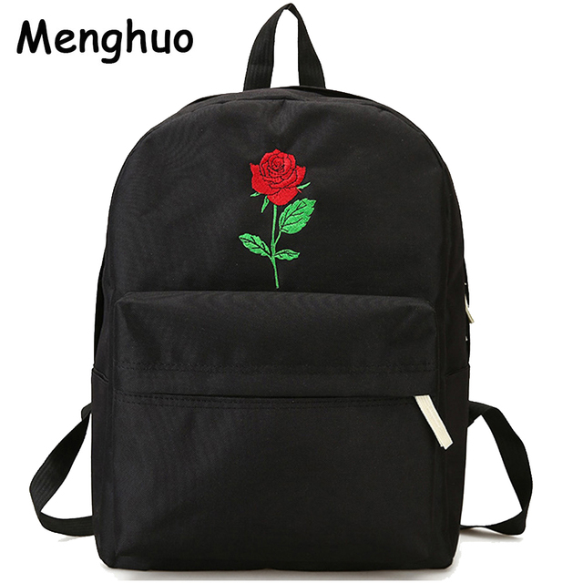 462c3f3b9a10 Menghuo Men Heart Canvas Backpack Women School Bag Backpack Rose Embroidery  Backpacks for Teenagers Women s Travel