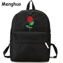 Menghuo erkekler kalp keten sırt çantası kadın okul çantası sırt çantası gül nakış gençler için sırt çantaları kadın seyahat çantaları Mochilas