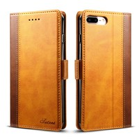 New PU Leather Wallet Case For IPhone 8 Plus Flip Cover With Money Card Pocket Kickstand
