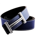 2016 New Brand Belt H Smooth Buckle Strap Male Genuine Leather Belt Mens Fashion Casual Luxury Belts Black Coffee