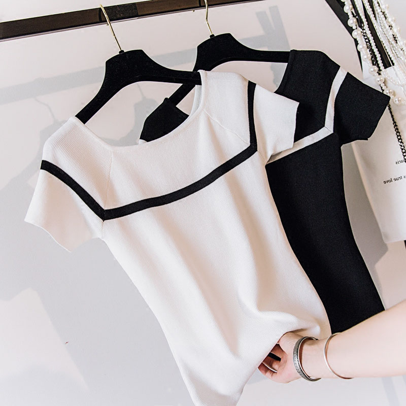 new women summer ice silk thin short sleeve Slash neck knitted shirt sweater female striped T-shirt girl lady slim pullover tops joseph a new beige short sleeve striped pleated sweater xl $84 dbfl