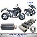 60mm de escape de la motocicleta cafe racer motocross silenciador tubo de escape yoshimura r1 r6 para kawasaki z800 z750 er6n tmax530