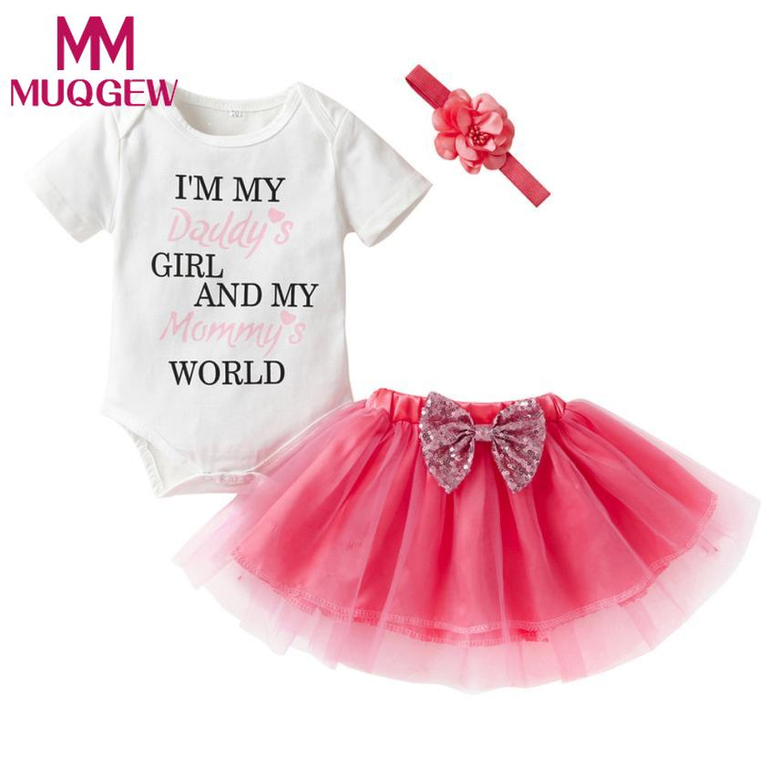 MUQGEW 3PCS Newborn Clothes Set Infant Baby Girl Letter Romper Tops+Tutu Skirt Outfits tracksuit for girl conjunto menina inveno cotton letter tops romper pants newborn infant baby boy girl 2017 new arrival fashion outfits clothes sunsuit age 0 3y