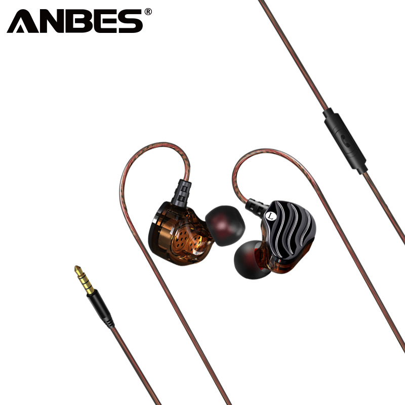 ANBES Four Unit Drive Earphone Music Sport Bass HIFI Headphones With Mic In-Ear Wired Double Dynomic Drive Heasets auriculares