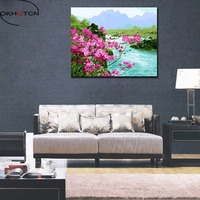 OKHOTCN Framed Landscape River Pink Flower DIY Digital Oil Painting By Numbers Modern Wall Art Home