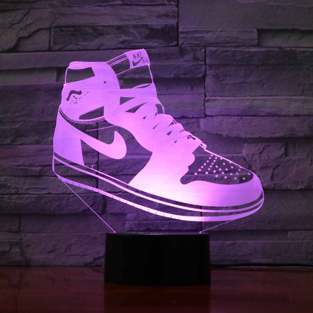 Creative 3D Shoes Shape Desk Lamp Led 7 Colors Changing Visual Atmosphere Acrylic Night Light Home Decor Give Sports Fans Gifts