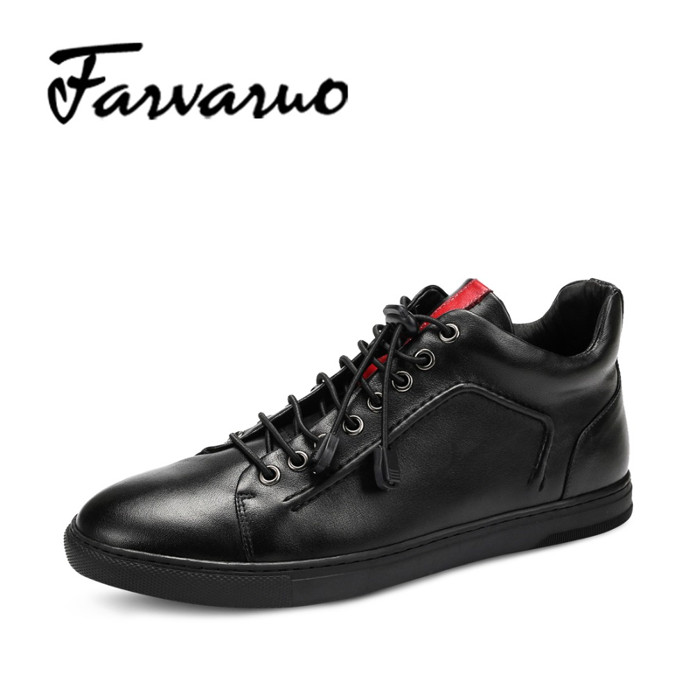 Farvarwo Fashion Casual Slip On Shoes Men 2017 Spring Genuine Leather Breathable Leisure Flat Black Round Toe Shoes Men Social spring autumn casual men s shoes fashion breathable white shoes men flat youth trendy sneakers