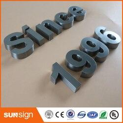 Señales de negocios personalizadas con letras de acero inoxidable cepillado