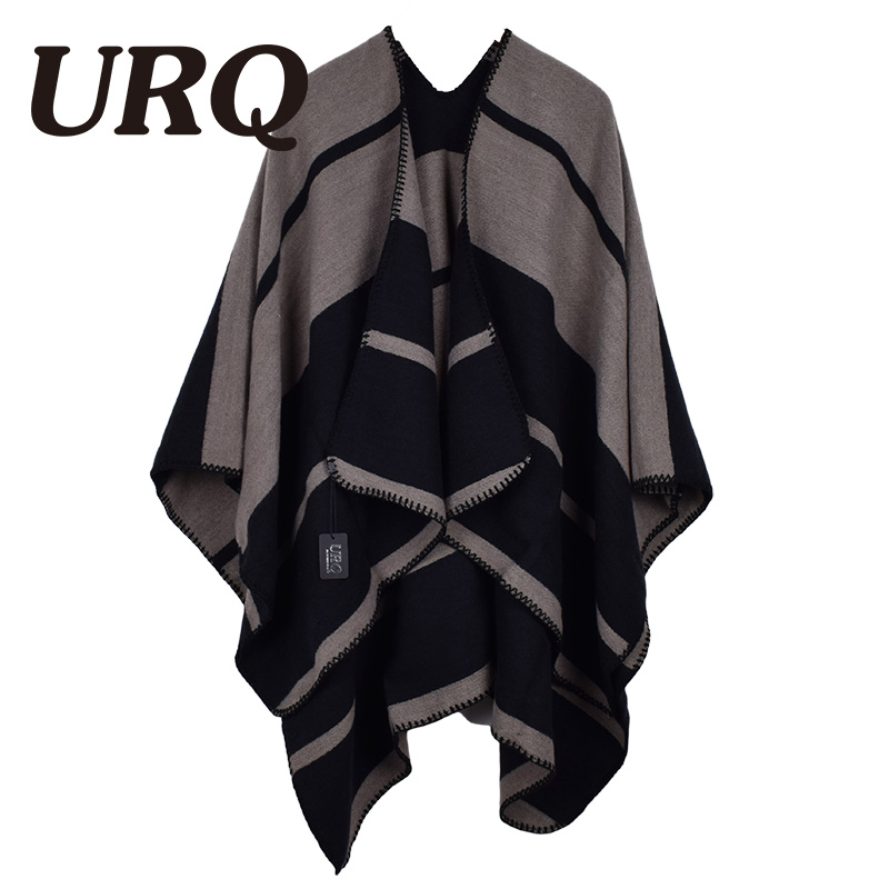 URQ Women Poncho 2017 Winter New Prorsum Cashmere Imitation Wool Scarf Poncho Cape Plaid Check