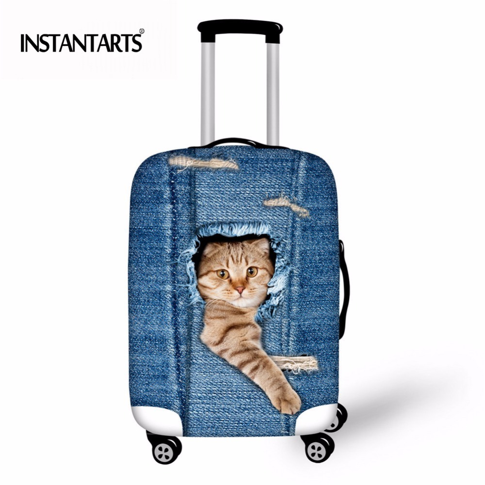 INSTANTARTER Bagage Beskyttelses Cover Blå Denim Cute Animal Cat Print Rejsetaske Støvdæksler til 18-30 tommer Trolley Cases